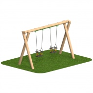 Timber 2.4m Swing - x2 Cradle Seats & x2 Flat Seats