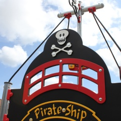 Pirate ship with open slide
